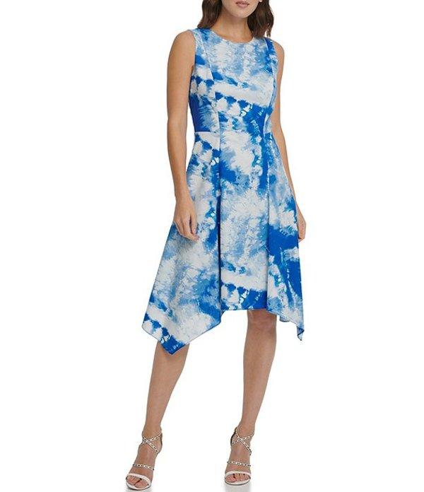 ダナ キャラン ニューヨーク レディース ワンピース トップス Tie Dye Handkerchief Hem Cotton Blend Sleeveless A-Line Dress Royal Multi