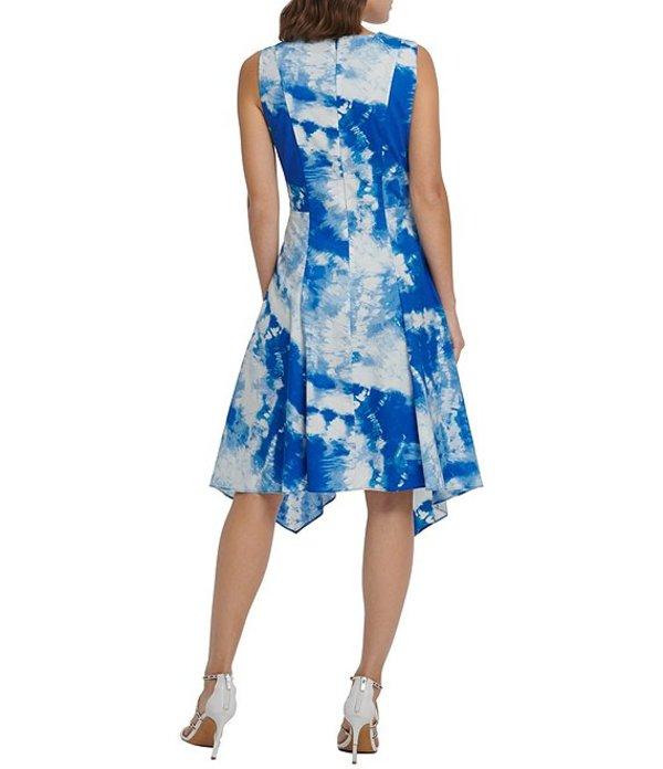 ダナ キャラン ニューヨーク レディース ワンピース トップス Tie Dye Handkerchief Hem Cotton Blend Sleeveless A Line Dress Royal MultiCeBrodxW