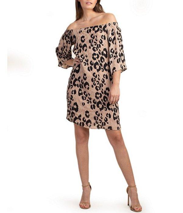 トリーナターク レディース ワンピース トップス trina Trina Turk Off-The-Shoulder 3/4 Sleeve Leopard Print Georgette Shift Dress Leopard Multi