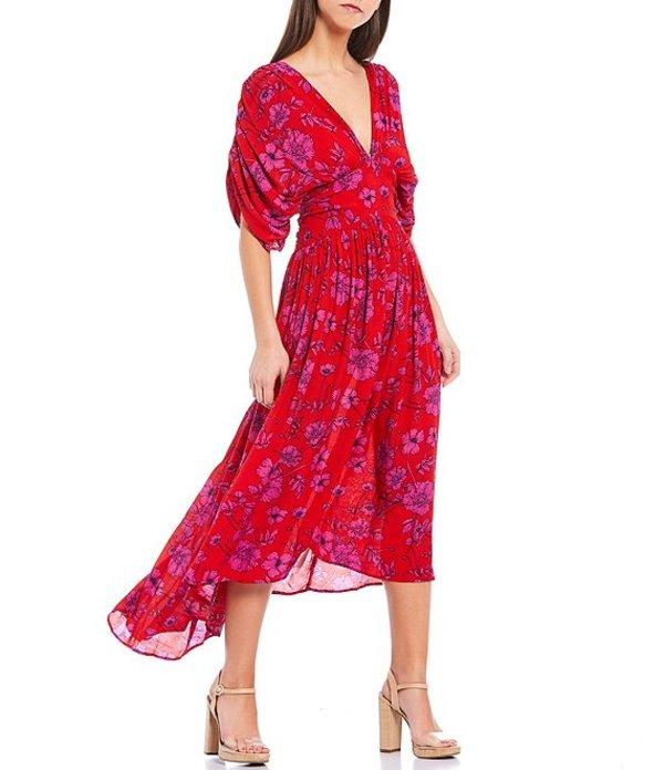 バンドオブジプシーズ レディース ワンピース トップス Antibes Deep V-Neck Floral Pleated Midi Dress Red/Magenta