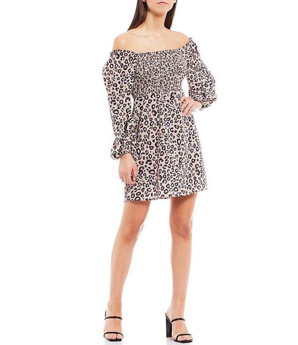 サンクチュアリー レディース ワンピース トップス Marina Animal Print Smocked Off-the-Shoulder Puff Sleeve Mini Dress Neutral Spots
