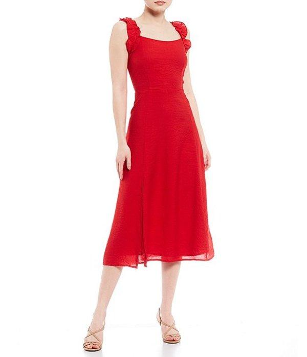 シュガーリップス レディース ワンピース トップス Ruffle Square Neck Sleeveless Midi Dress Red
