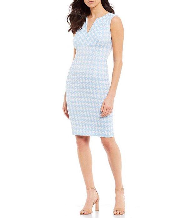 カルバンクライン レディース ワンピース トップス Houndstooth Print Sleeveless Sheath Dress Serene/White