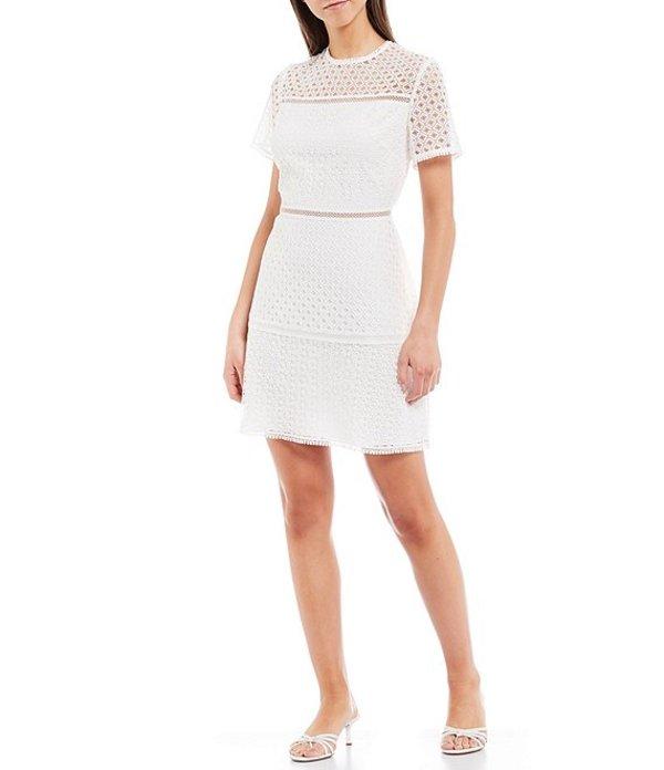 テッドベーカー レディース ワンピース トップス Allara Short Sleeve Lace Circle Trim Mini Dress Ivory