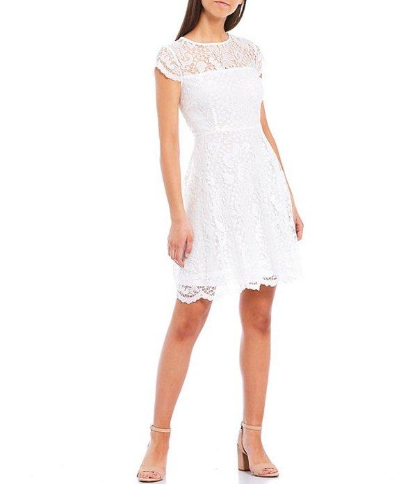 ケンジー レディース ワンピース トップス Illusion Neck Cap Sleeve Lace Fit & Flare Scallop Hem Dress White