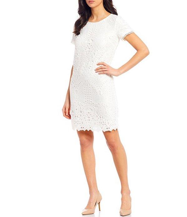 カール ラガーフェルド レディース ワンピース トップス Floral Lace Trim Detail Short Sleeve Sheath Dress Soft White