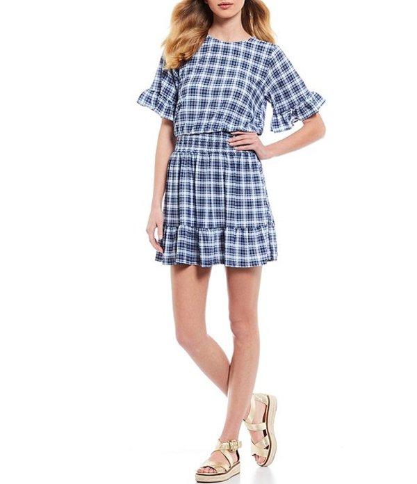 マイケルコース レディース ワンピース トップス MICHAEL Michael Kors Glam Plaid Print Smocked Waist Ruffle Sleeve Dress Chambray