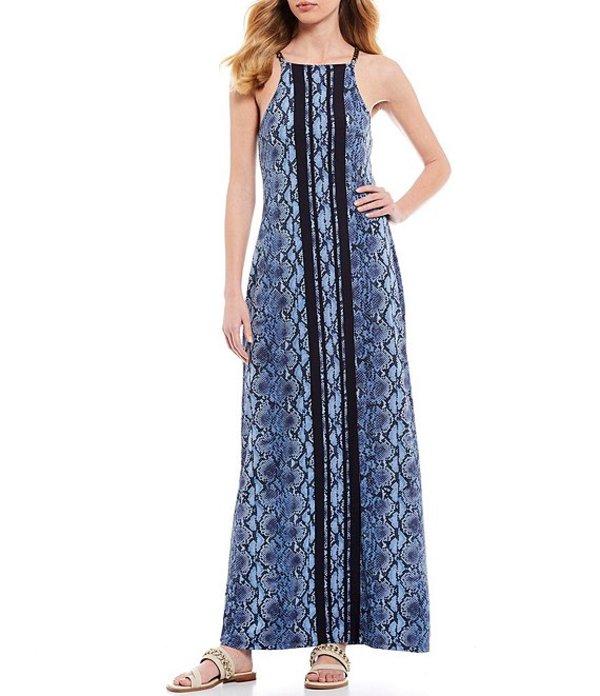 マイケルコース レディース ワンピース トップス MICHAEL Michael Kors Snake Skin Border Print Lux Matte Jersey Chain Strap Sleeveless Maxi Dress Chambray