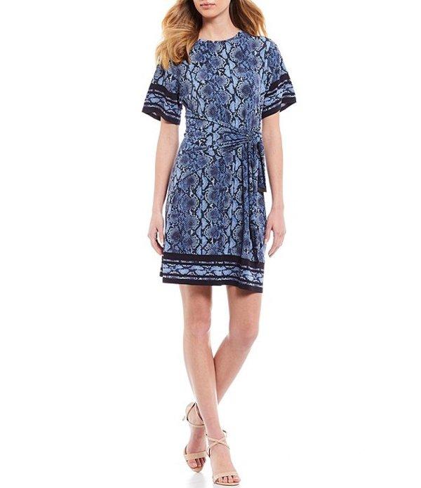 マイケルコース レディース ワンピース トップス MICHAEL Michael Kors Snake Skin Border Print Lux Matte Jersey Short Sleeve Tie-Waist Dress Chambray
