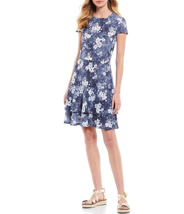 マイケルコース レディース ワンピース トップス MICHAEL Michael Kors Bleached Floral Print Cap Sleeve Tiered Flounce Dress Chambray
