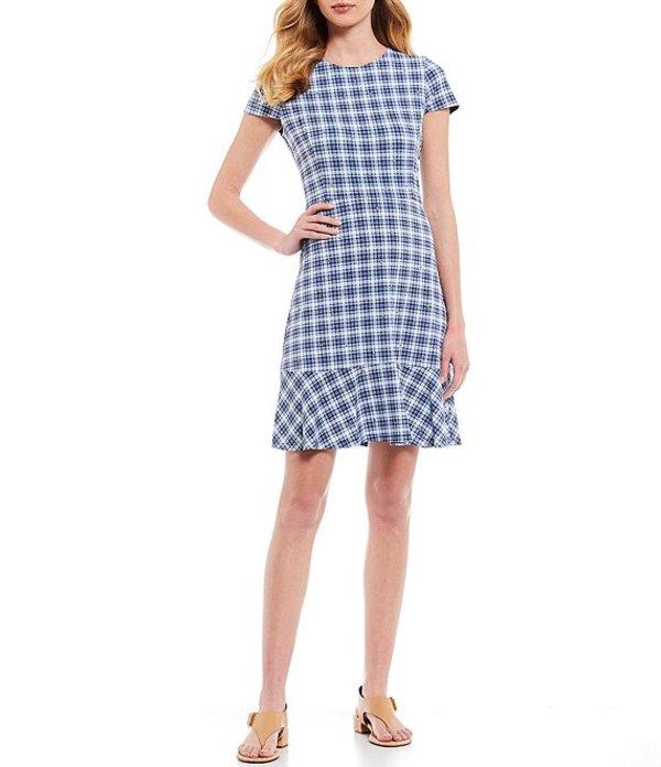 マイケルコース レディース ワンピース トップス MICHAEL Michael Kors Glam Plaid Print Stud Embellished Detail Flounce Hem Short Sleeve Sheath Dress Chambray