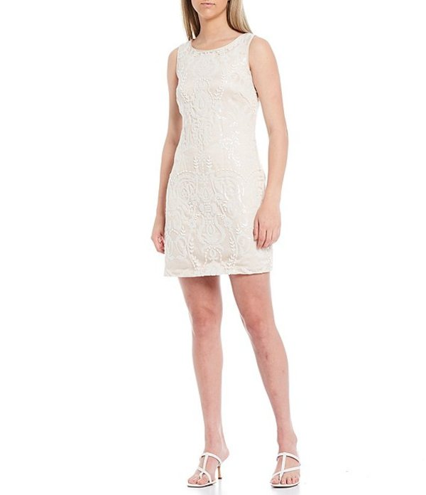 ヴィンスカムート レディース ワンピース トップス Sleeveless Sequin Beaded Shift Dress Ivory