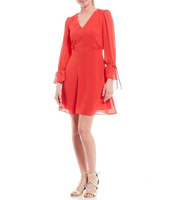 ヴィンスカムート レディース ワンピース トップス Long Tie Sleeve Detail V-Neck Chiffon Dress Coral