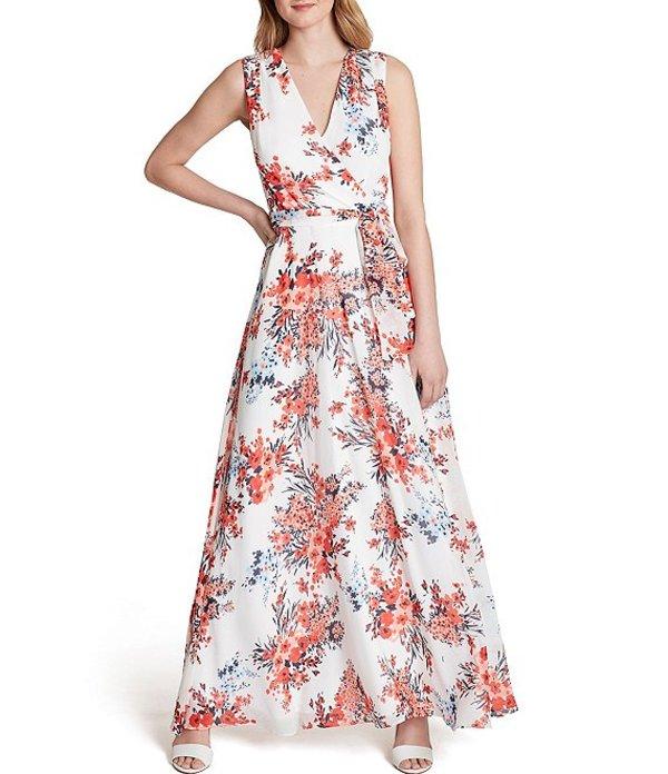 タハリエーエスエル レディース ワンピース トップス Sleeveless Faux Wrap Floral Print Chiffon Maxi Dress Ivory/Red Floral