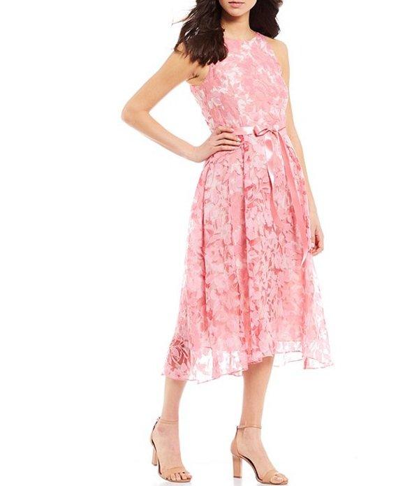 タハリエーエスエル レディース ワンピース トップス Floral Embroidered Tie Waist A-Line Sleeveless Midi Dress Pink/Ivory