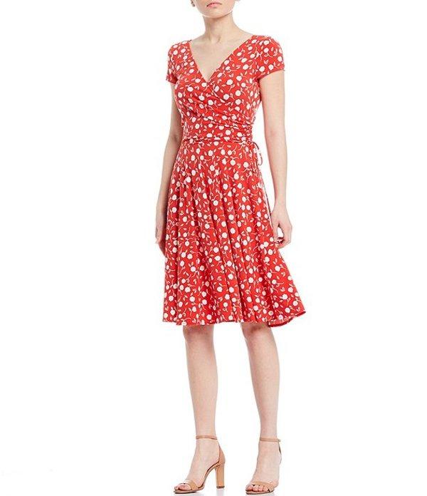 マギーロンドン レディース ワンピース トップス Ditsy Floral Jersey Faux Wrap V-Neck Short Sleeve Dress Red/Soft White