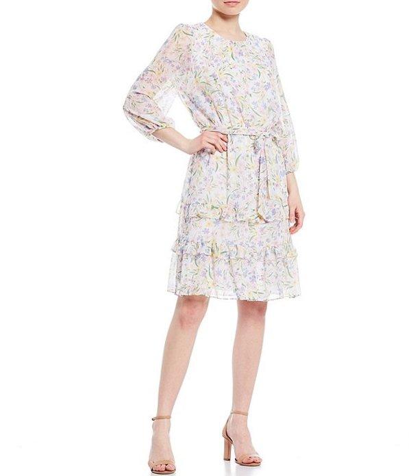 カルバンクライン レディース ワンピース トップス Swirled Ditsy Floral Print 3/4 Sleeve Belted Chiffon Ruffle Trim Dress White Multi