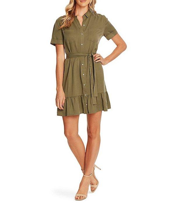 ヴィンスカムート レディース ワンピース トップス Short Sleeve Belted Tencel Shirt Dress Light Sage