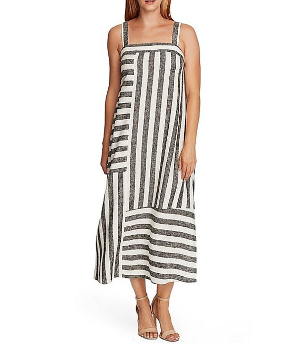 ヴィンスカムート レディース ワンピース トップス Sleeveless Striped Square Neck Linen Blend Maxi Dress Rich Black