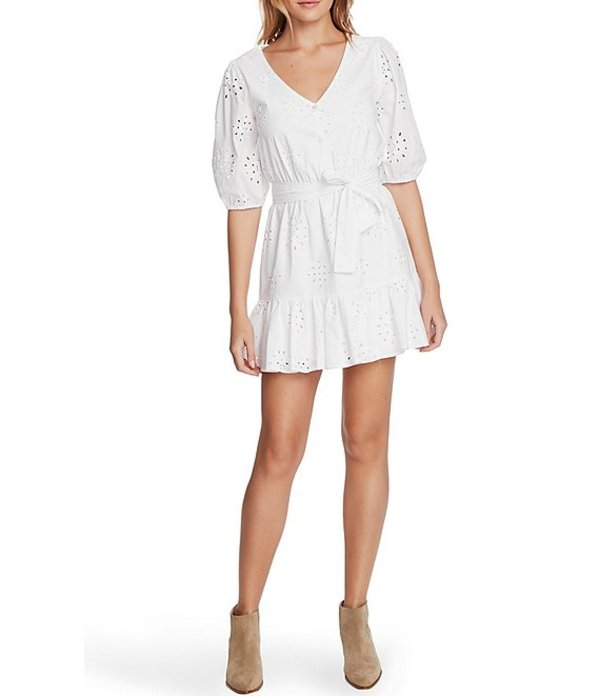 ワンステート レディース ワンピース トップス Cotton Eyelet Tie Waist V-Neck Short Sleeve Dress Ultra White