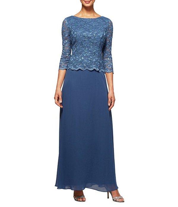 アレックスイブニングス レディース ワンピース トップス Sequined Lace 3/4 Sleeve Gown Wedgewood