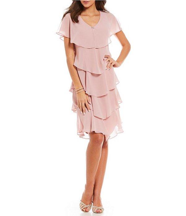 イグナイト レディース ワンピース トップス Georgette Tiered Capelet Dress Faded Rose