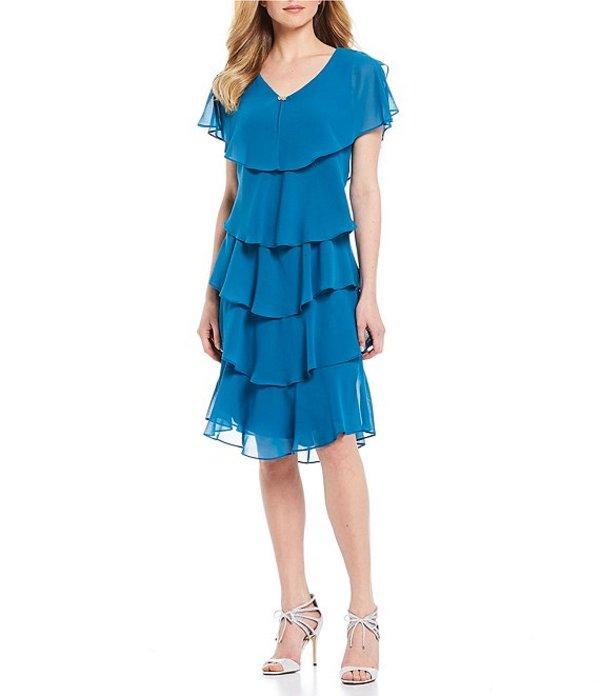 イグナイト レディース ワンピース トップス Georgette Tiered Capelet Dress MIneral Blue