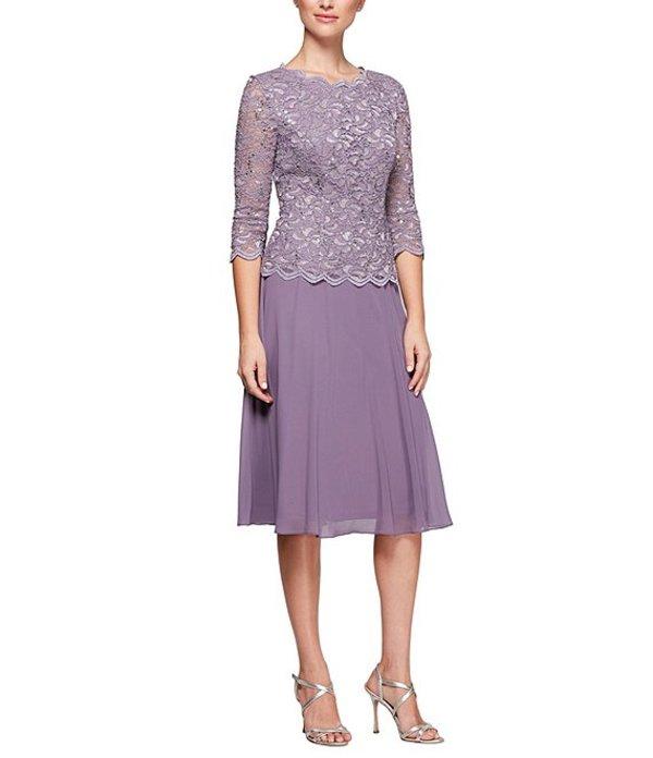 アレックスイブニングス レディース ワンピース トップス Mock 2-Piece Lace Tea-Length A-Line Dress Icy Orchid
