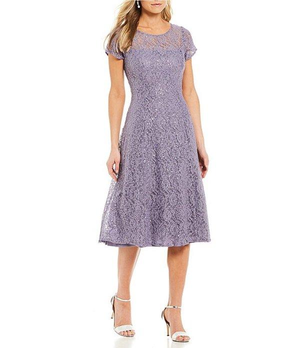 イグナイト レディース ワンピース トップス Cap Sleeve Sequin Lace Midi Dress Mystic Heather