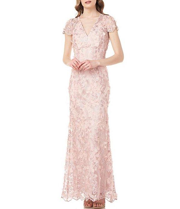 カルメンマークヴァルヴォ レディース ワンピース トップス V-Neck 3D Fleurette Illusion Sleeve Gown Blush