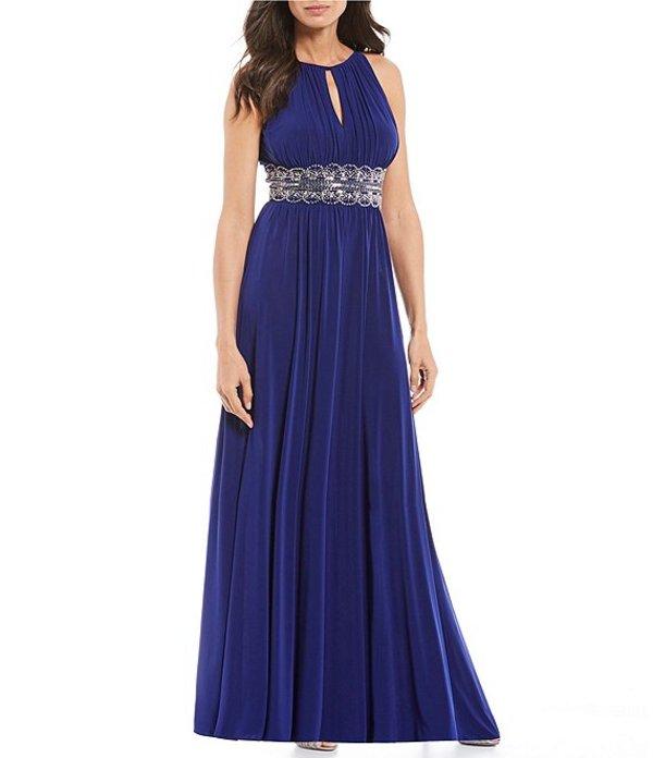 アールアンドエムリチャーズ レディース ワンピース トップス Beaded Waist Keyhole Neck A-Line Gown Electric Blue