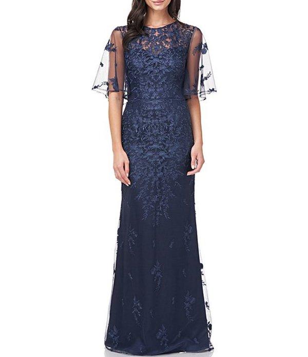 ジェイエスコレクションズ レディース ワンピース トップス Illusion Embroidered Capelet Gown Navy