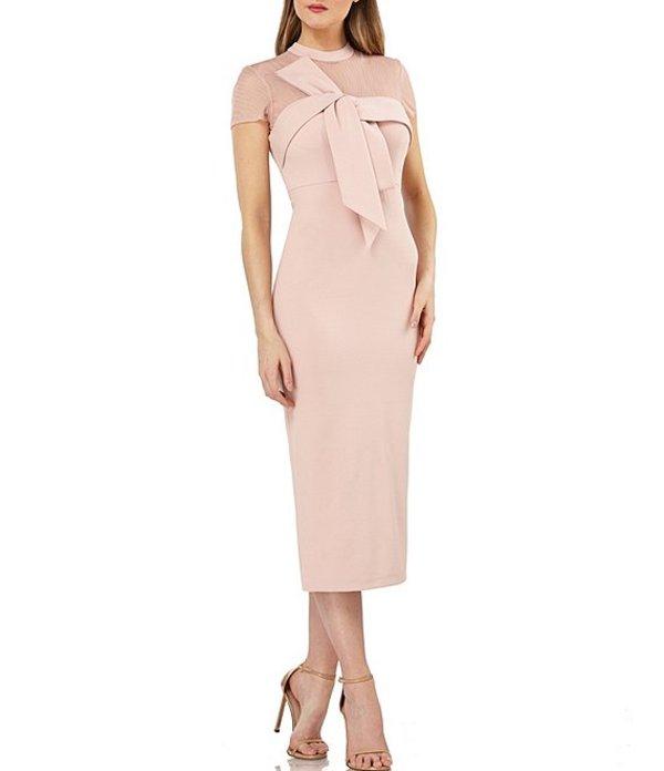 ジェイエスコレクションズ レディース ワンピース トップス Illusion Neck Crepe Bow Front Detail Midi Dress Blush