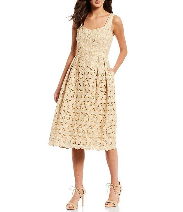 アントニオ メラーニ レディース ワンピース トップス Nyla Embroidered Cotton Blend Sleeveless A-Line Midi Dress Almond