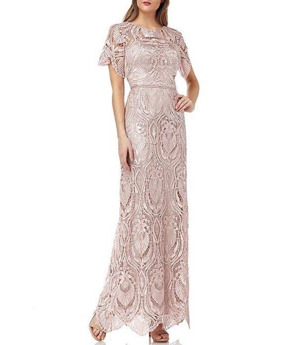 ジェイエスコレクションズ レディース ワンピース トップス Short Sleeve Scalloped Lace Hem A-Line Gown Shell Pink
