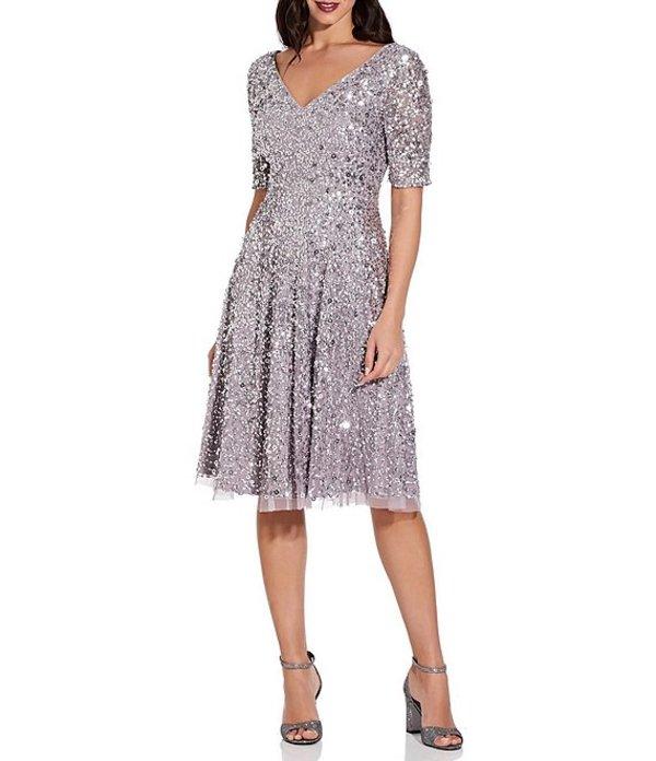 アドリアナ パペル レディース ワンピース トップス V-Neck Elbow Sleeve Sequin Fit & Flare Midi Dress Lilac Grey