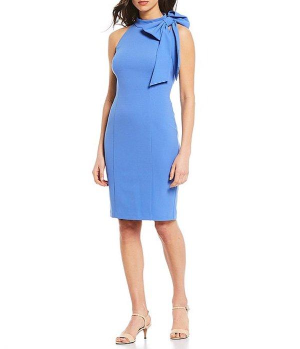 エリザジェイ レディース ワンピース トップス Sleeveless Bow Neck Detail Scuba Crepe Sheath Dress Blue