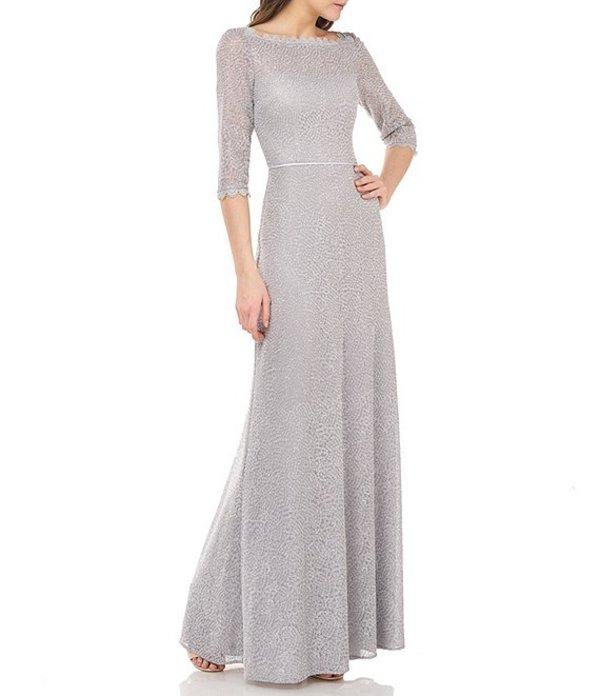 ジェイエスコレクションズ レディース ワンピース トップス Js Collections Metallic Lace Embroidered Mesh A-Line Gown Silver