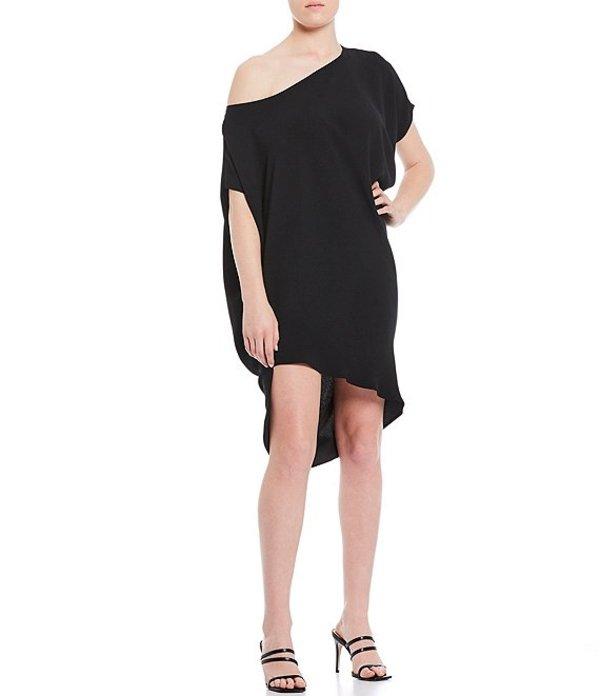 トリーナターク レディース ワンピース トップス Radiant Asymmetric Off-the-Shoulder Hi-Low Dress Black