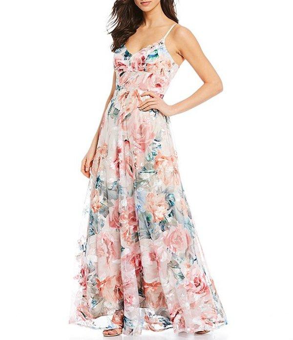 エリザジェイ レディース ワンピース トップス Rose Floral Printed Embroidered Mesh V-Neck Sleeveless Waist Yoke Gown Ivory Multi