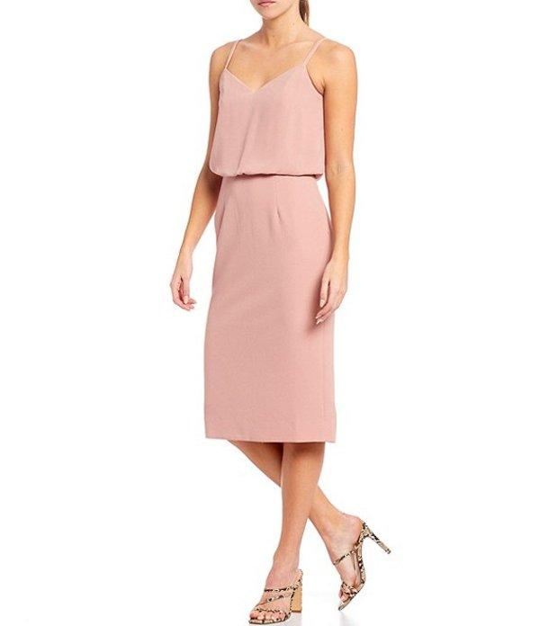 ドレスザポプレーション レディース ワンピース トップス Alondra V-Neck Sleeveless Blouson Midi Dress Blush