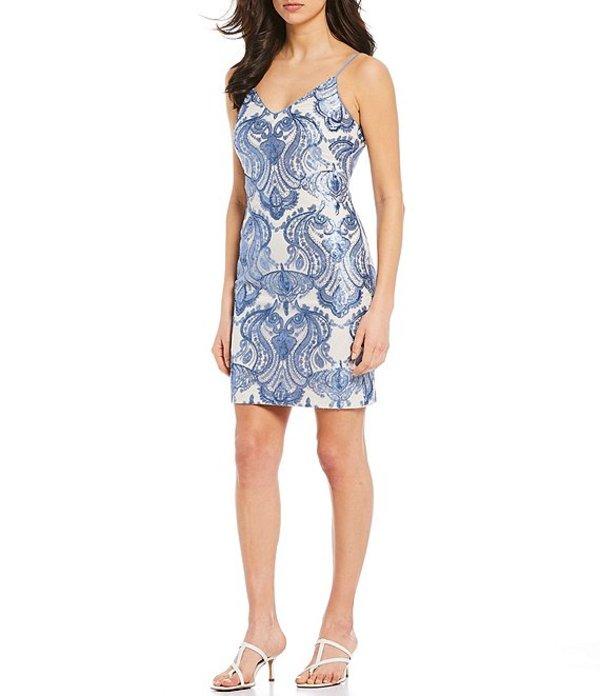 ヴィンスカムート レディース ワンピース トップス V-Neck Sleeveless Paisley Sequined Sheath Dress Light Blue
