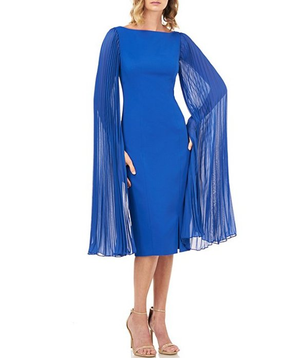 ケイ アンジャー レディース ワンピース トップス Angelica Boat Neck Pleated Chiffon Sleeve Stretch Crepe Sheath Dress Sapphire