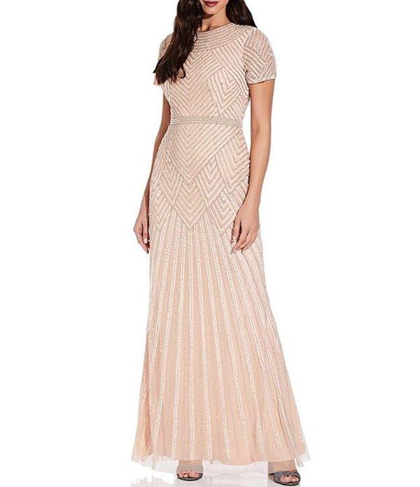 アドリアナ パペル レディース ワンピース トップス Short Sleeve Pearl Beaded Mesh Gown Champagne Sand