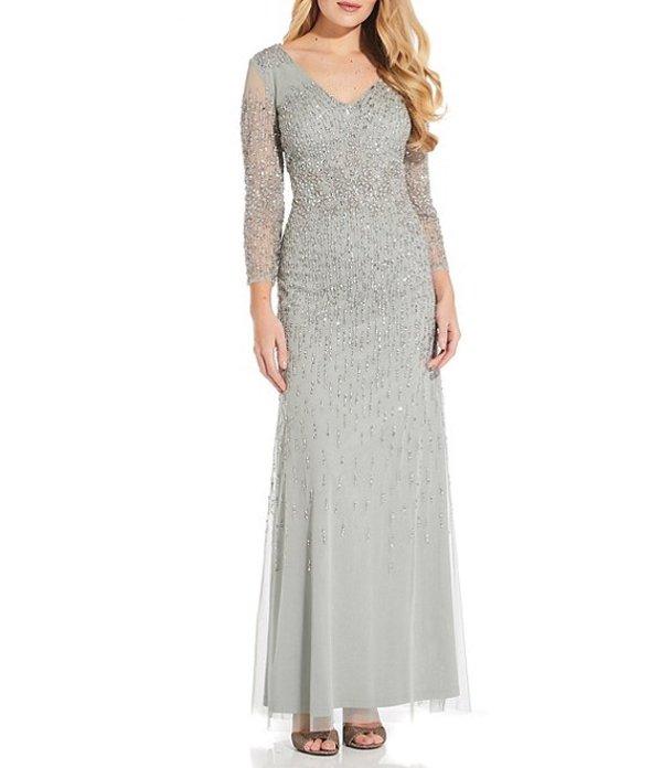 アドリアナ パペル レディース ワンピース トップス V-Neck 3/4 Sleeve Beaded Gown Frosted Sage
