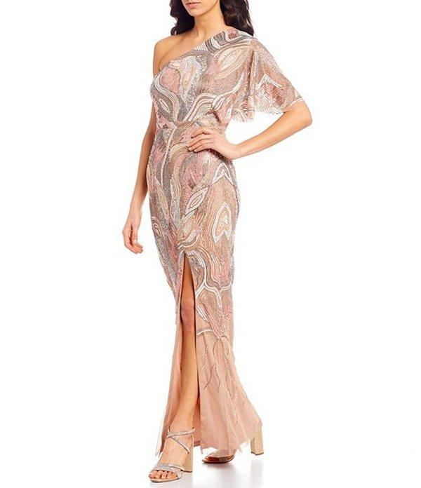 アイダンマットックス レディース ワンピース トップス Asymmetric Flutter Sleeve Beaded Gown Nude