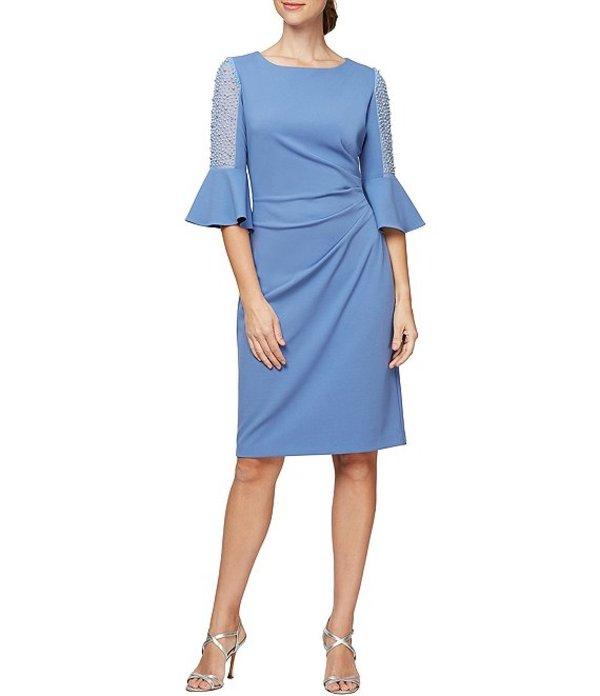 アレックスイブニングス レディース ワンピース トップス Illusion Bell Beaded Sleeve Crepe Side Ruched Sheath Dress Bright Periwinkle