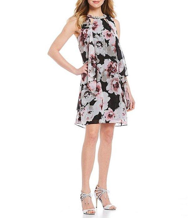 イグナイト レディース ワンピース トップス Pearl Neck Sleeveless Floral Chiffon Dress Black Multi
