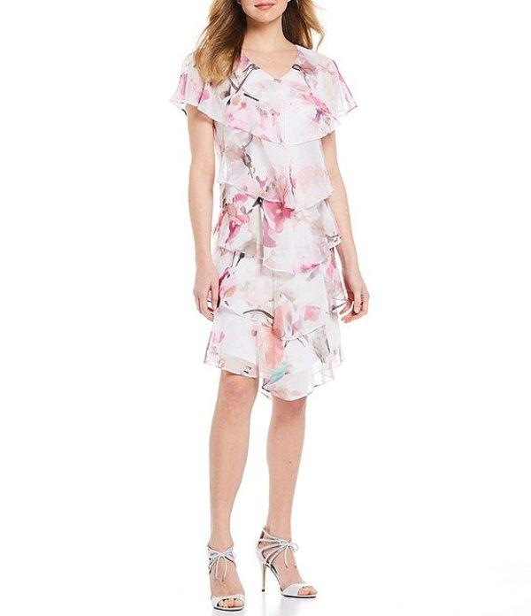 イグナイト レディース ワンピース トップス Short Sleeve Tiered Floral Chiffon Dress Pink Multi