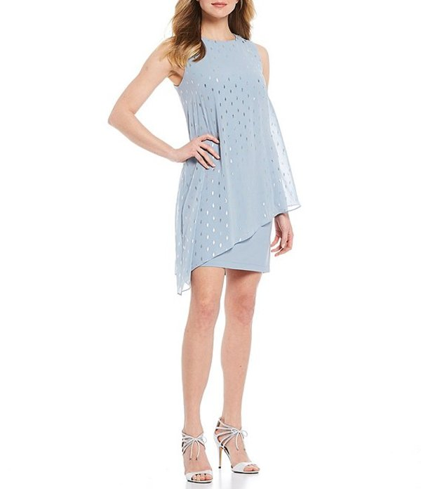 イグナイト レディース ワンピース トップス Asymmetric Overlay Foiled Dot Sleeveless Embellished Shoulder Detail Sheath Dress Misty Blue